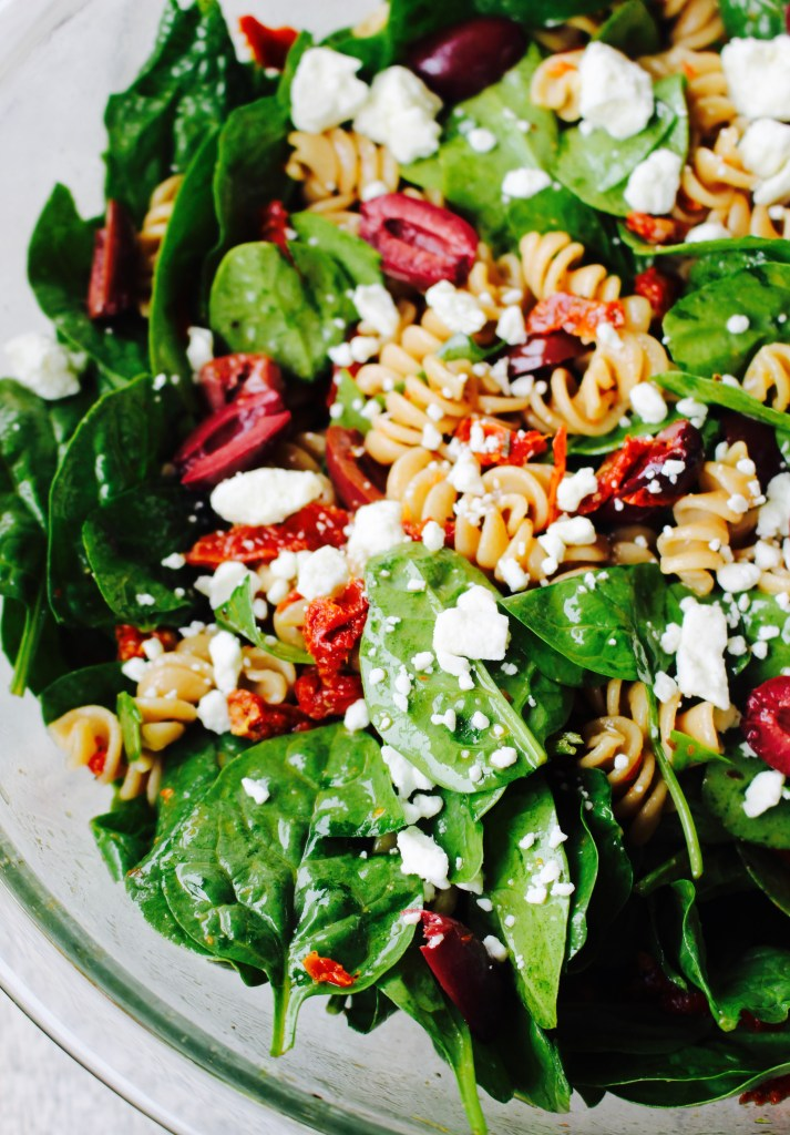 Whole Wheat Pasta Salad with Spinach and Easy Sun-dried Tomato Vinaigrette