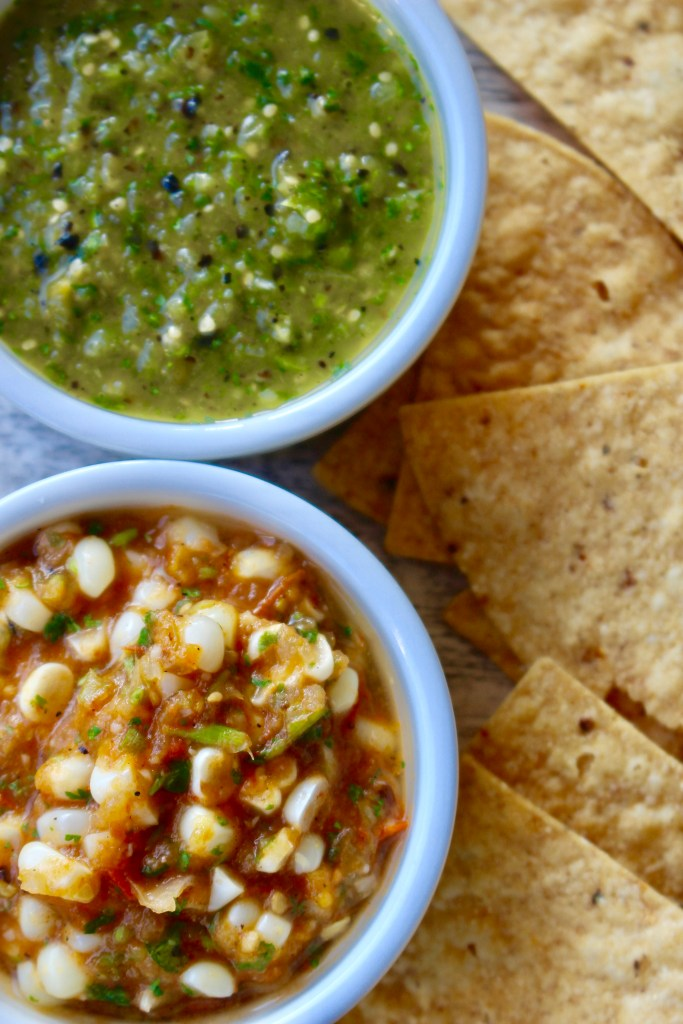 Two Grilled Summer Salsas (made at the same time)