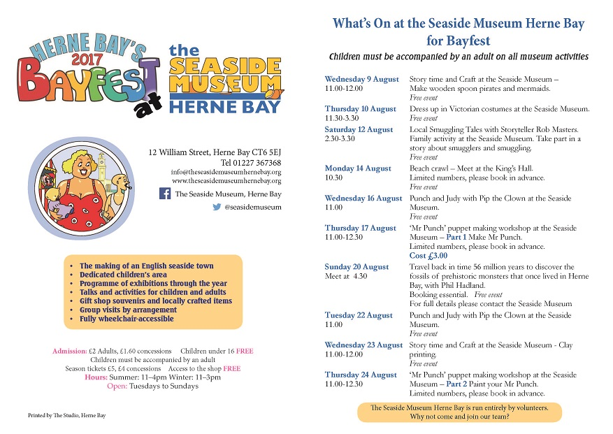 A leaflet including all the dates and events listed on the page