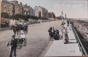 Postcard with Herne Bay Clocktower in the background