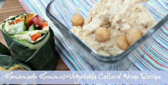 Homemade Hummus + a Vegetable Collard Wrap Recipe