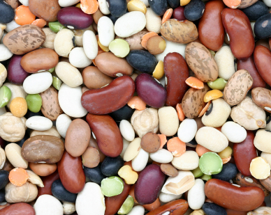An assortment of dried legumes
