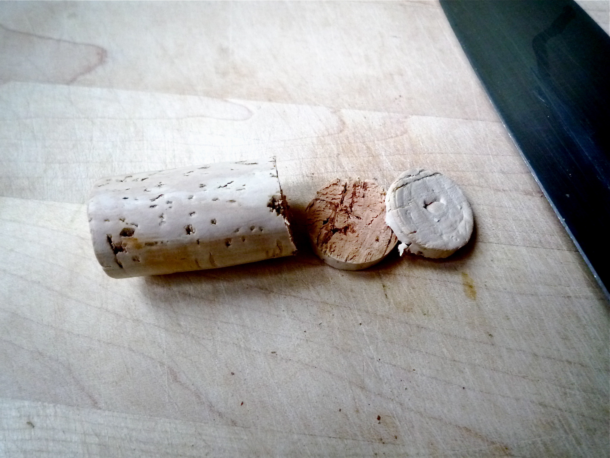 Use a sharp knife to slice cork for your various household needs