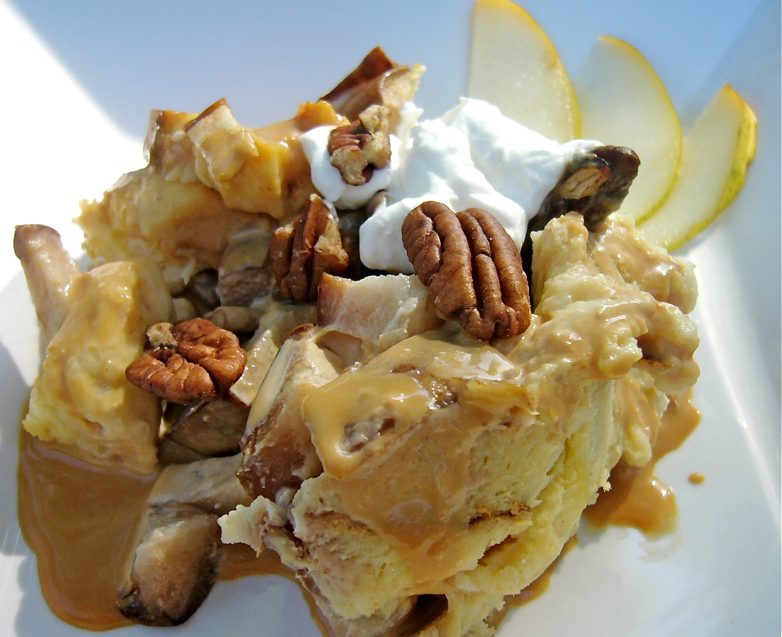 Pear and Pecan Bread Pudding with Caramel Sauce