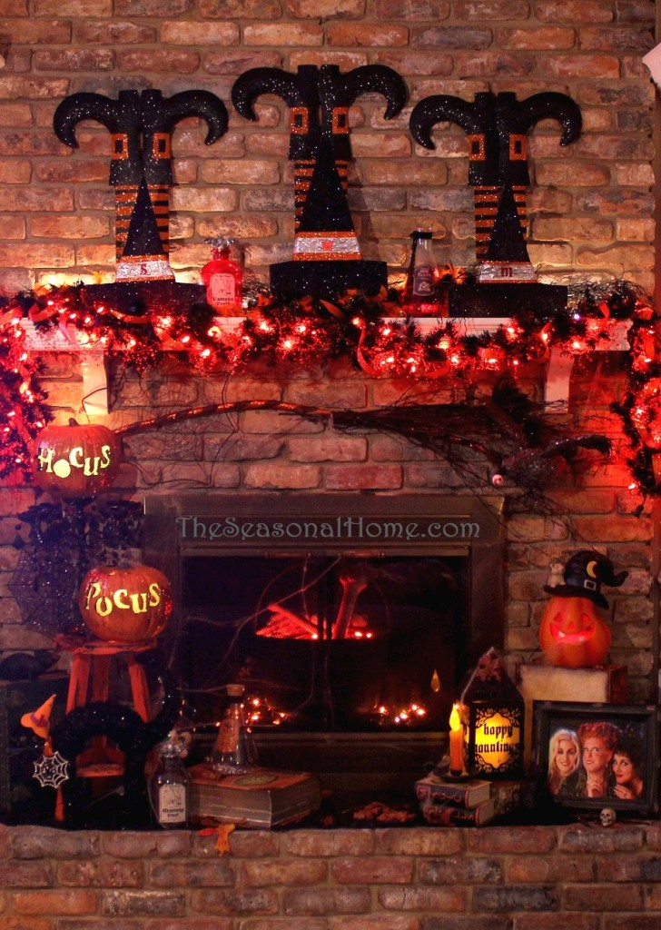 Hocus Pocus Theme Halloween Mantel Decorations | The Seasonal Home