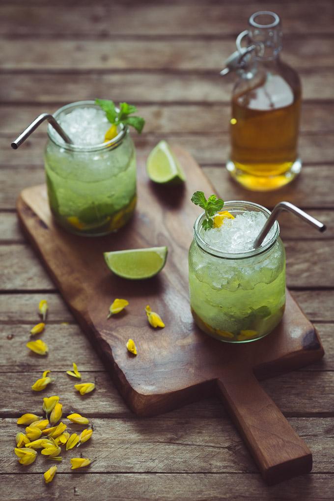 Gorse Flower and Raw Honey Mojito -- Serve immediately and enjoy | https://theseasonaltable.co.uk/drinks/gorse-flower-and-raw-honey-mojito/