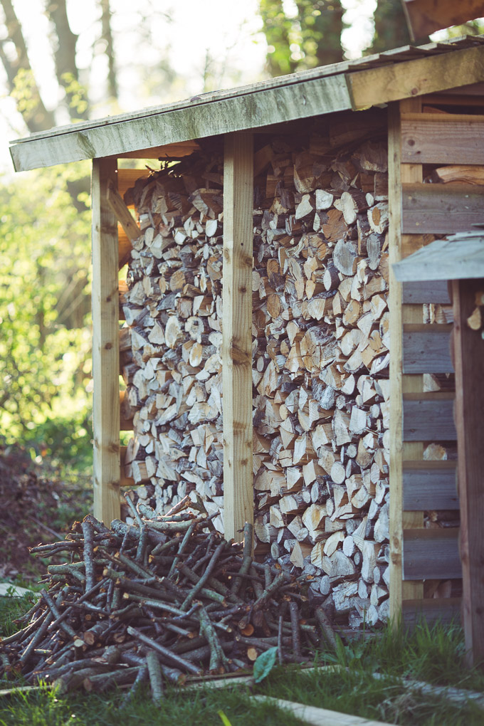 Fire and Wood Part 1: Pallet Wood Kindling -- Log store and garden prunings | https://theseasonaltable.co.uk/smallholding/fire-and-wood-part-1-pallet-wood-kindling/