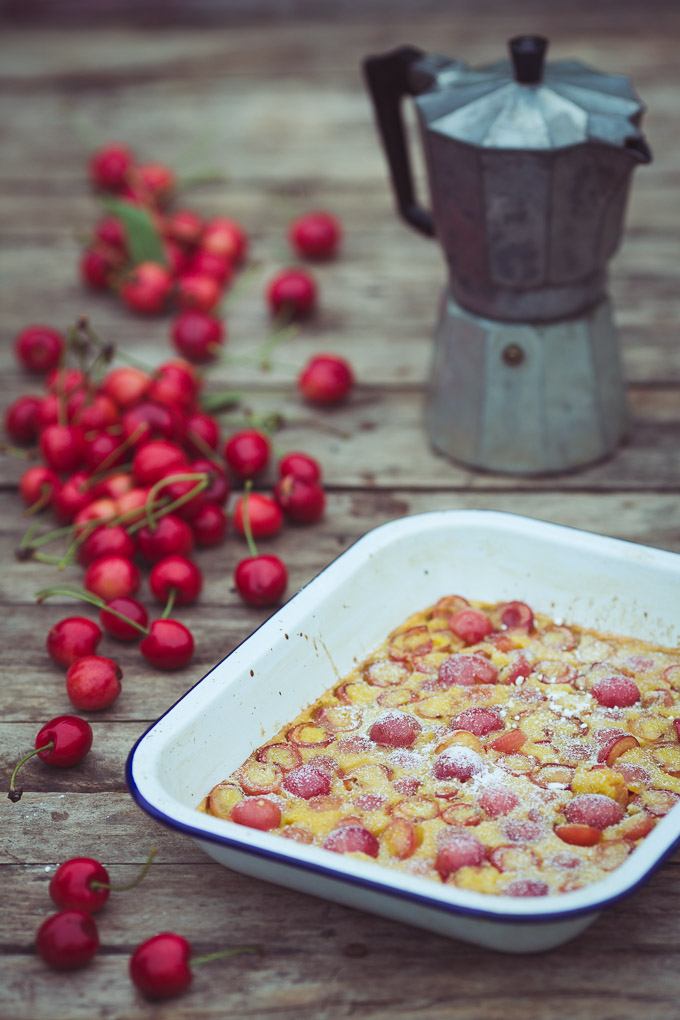 Cherry, Vanilla and Cinnamon Clafoutis -- Serve with coffee | https://theseasonaltable.co.uk/sweet/cherry-vanilla-cinnamon-clafoutis/