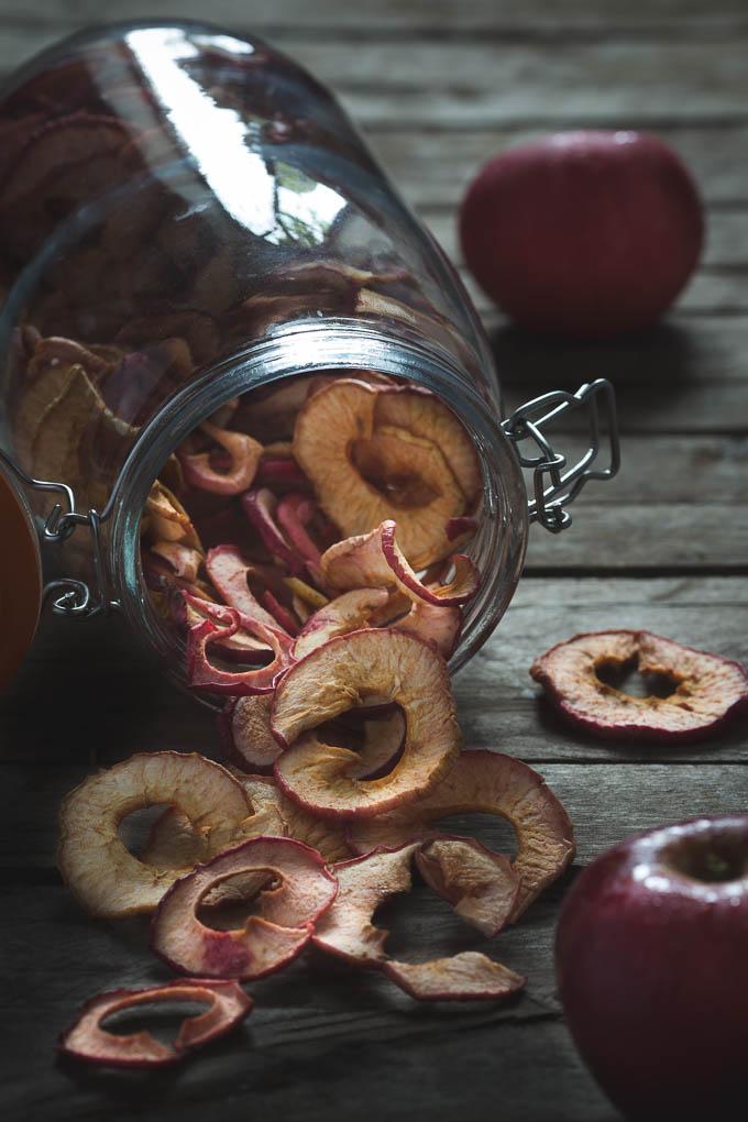 Apple Crisps -- Jar of apple crisps   https://theseasonaltable.co.uk/savoury/apple-crisps/