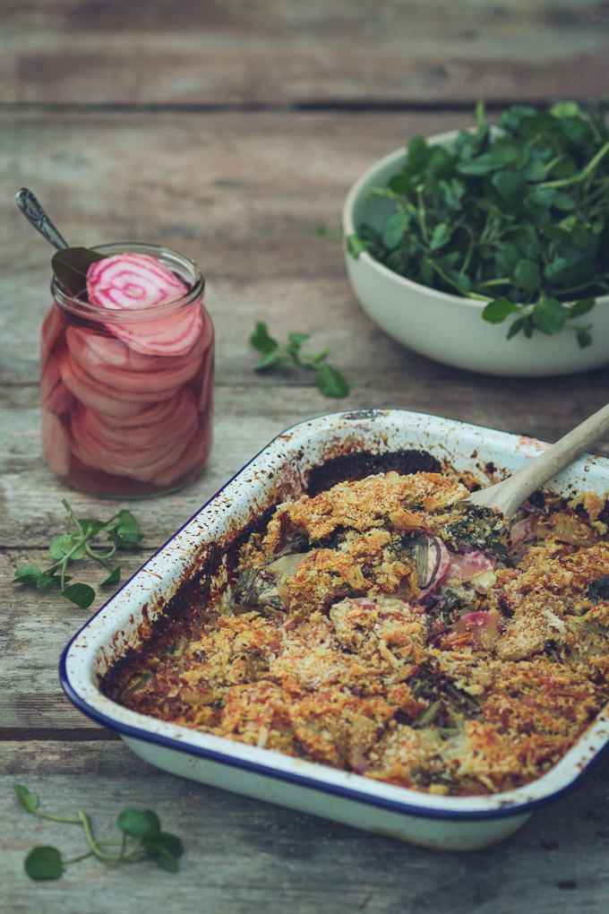 Beetroot Leaf and Potato Gratin | https://theseasonaltable.co.uk/savoury/beetroot-leaf-potato-gratin/