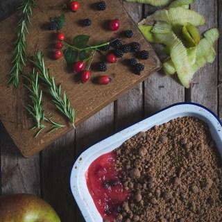 Apple and Blackberry Crumble with Rosemary, Cinnamon and Rosehip -- Seasonal Food -- The Seasonal Table | https://theseasonaltable.co.uk/sweet/apple-blackberry-crumble-rosemary-cinnamon-rosehip