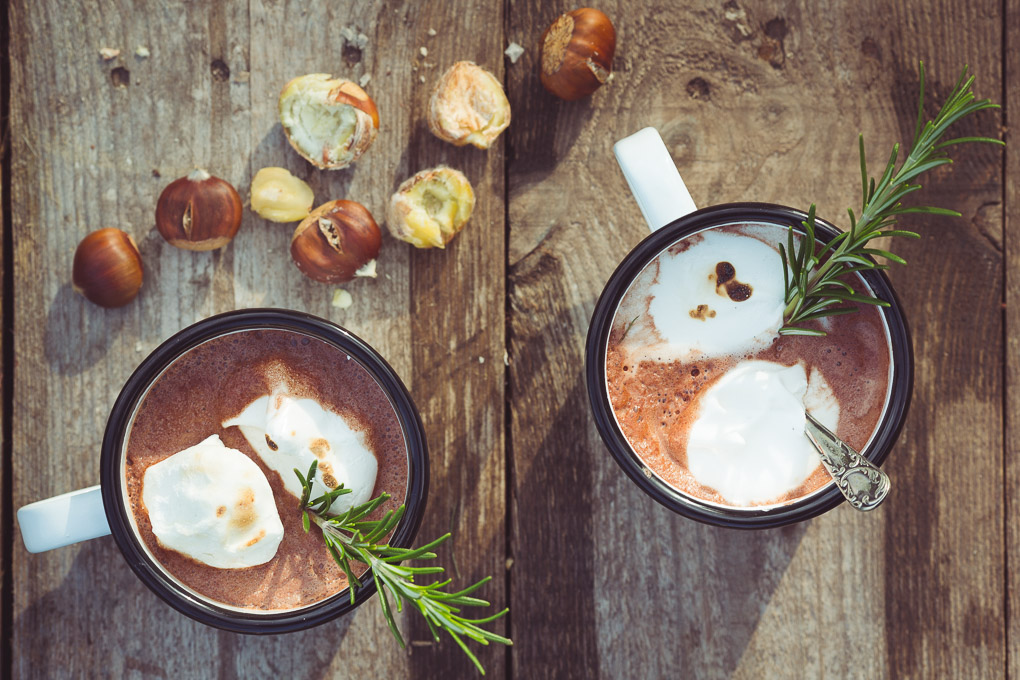 Salted Chestnuts, Rosemary Marshmallows and Hot Chocolate -- Seasonal Food | https://theseasonaltable.co.uk/drinks/salted-chestnuts-rosemary-marshmallows-and-hot-chocolate/