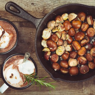Salted Chestnuts, Rosemary Marshmallows and Hot Chocolate -- Serve Hot -- Seasonal Food | https://theseasonaltable.co.uk/drinks/salted-chestnuts-rosemary-marshmallows-and-hot-chocolate/
