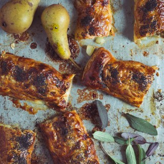 Sausage Rolls with Pear, Stilton, and Sage -- Seasonal Food UK | https://theseasonaltable.co.uk/savoury/sausage-rolls-pear-stilton-sage/