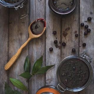 Blackcurrant and Bay Leaf Jam -- Seasonal Food UK -- Seasonal Recipes UK | https://theseasonaltable.co.uk/sweet/blackcurrant-and-bay-leaf-jam/