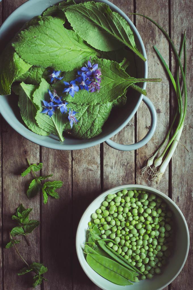Borage Leaf, Pea and Garden Mint Soup -- Preparing the dish | https://theseasonaltable.co.uk/savoury/borage-leaf-pea-and-garden-mint-soup