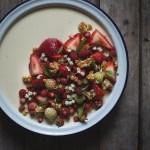 Milk Jelly with Strawberries, Elderflower, and Cobnut Brittle --Seasonal Food UK | https://theseasonaltable.co.uk/sweet/milk-jelly-with-strawberries-elderflower-and-cobnut-brittle