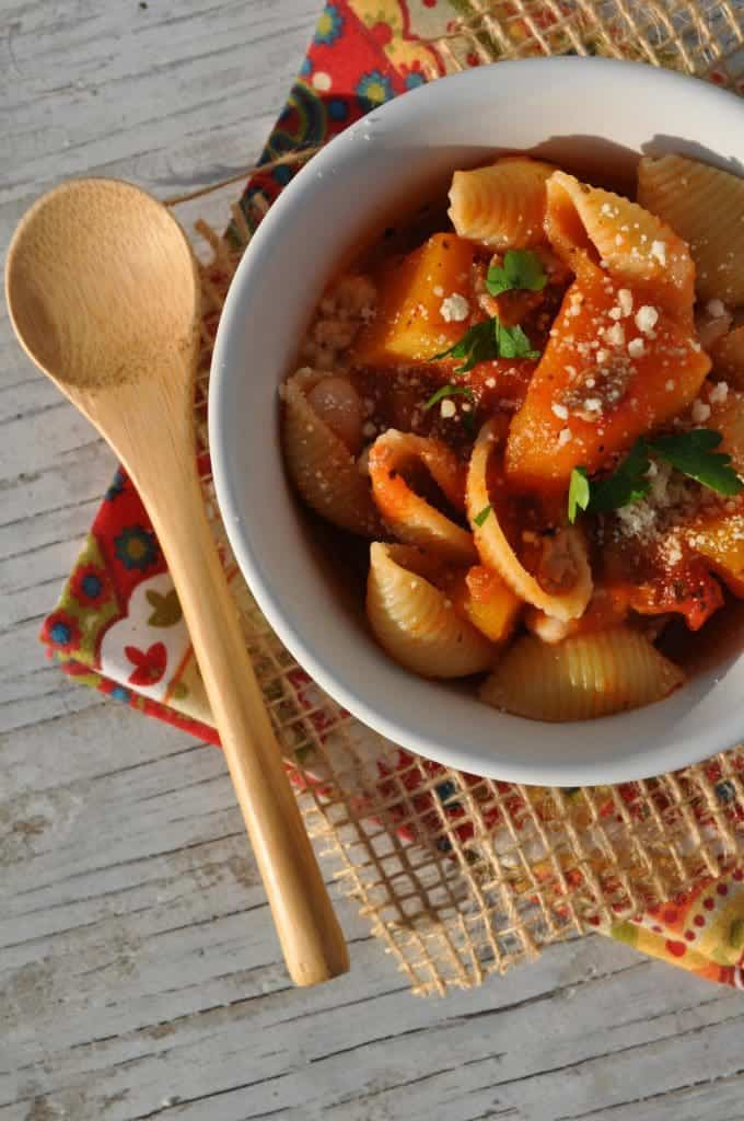 Slow Cooker Marinara Pasta Shells with Sausage and Butternut Squash