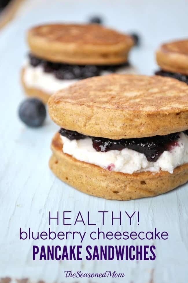 Healthy Blueberry Cheesecake Pancake Sandwiches 1