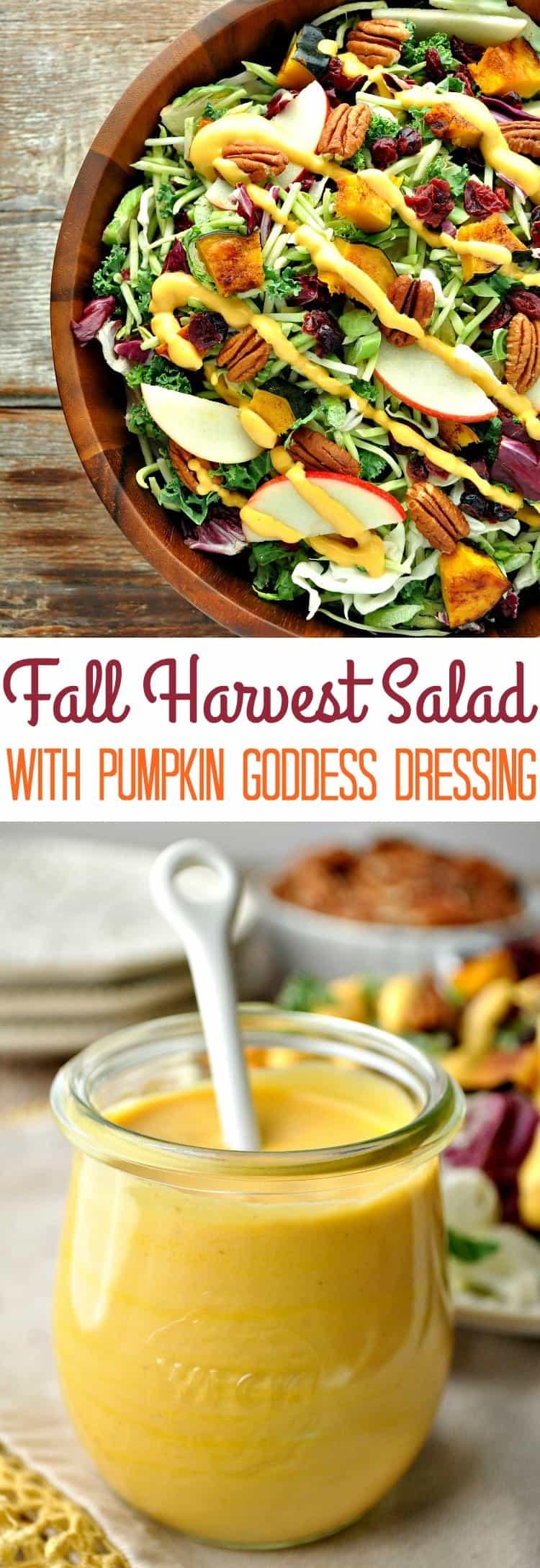 Fall Harvest Salad with Pumpkin Goddess Dressing