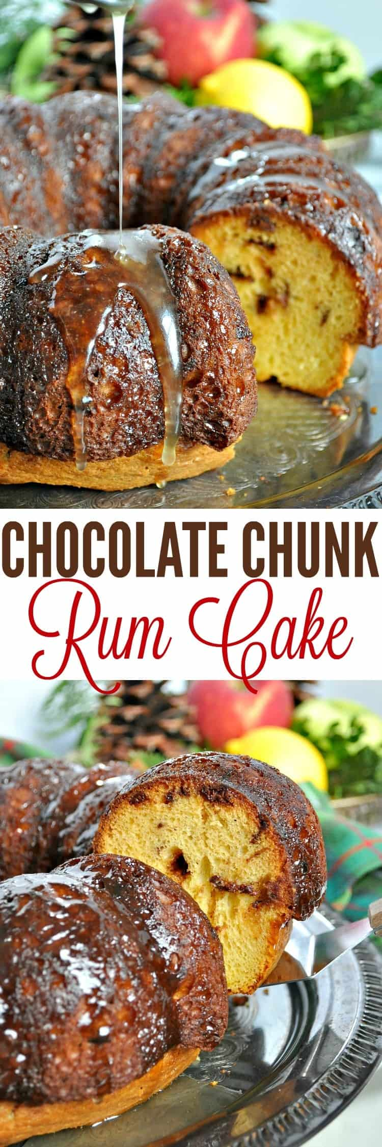 Chocolate Chunk Rum Cake is a delicious and EASY holiday dessert!