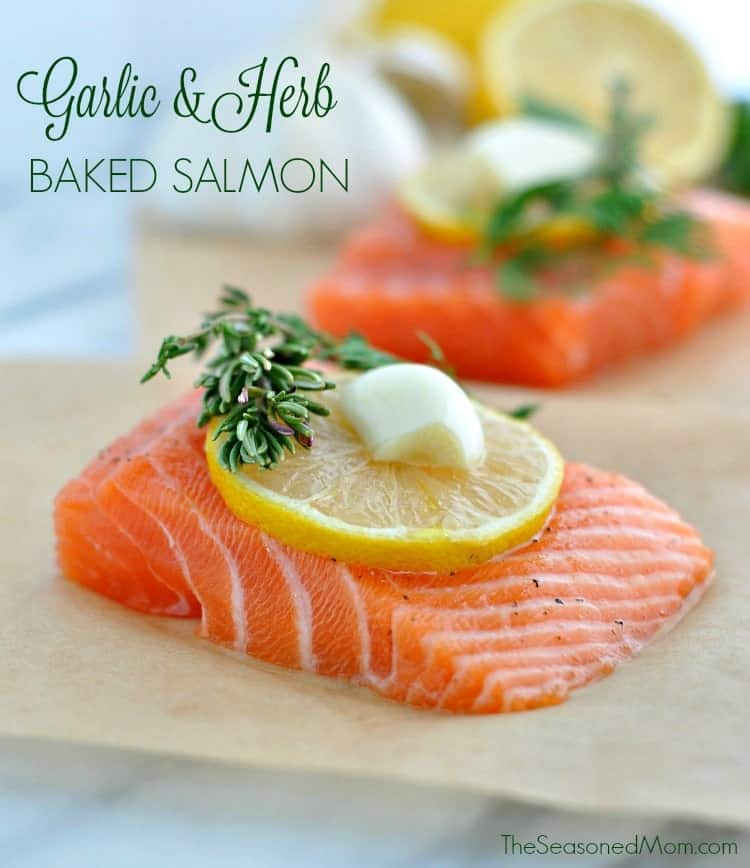 Garlic and Herb Baked Salmon is a simple, fresh, healthy, and EASY dinner recipe!