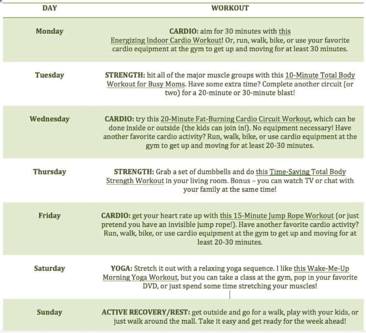 Spring Into Fitness 7 Day Meal Plan And Workout Calendar The. At Home Living  Room ... Part 45