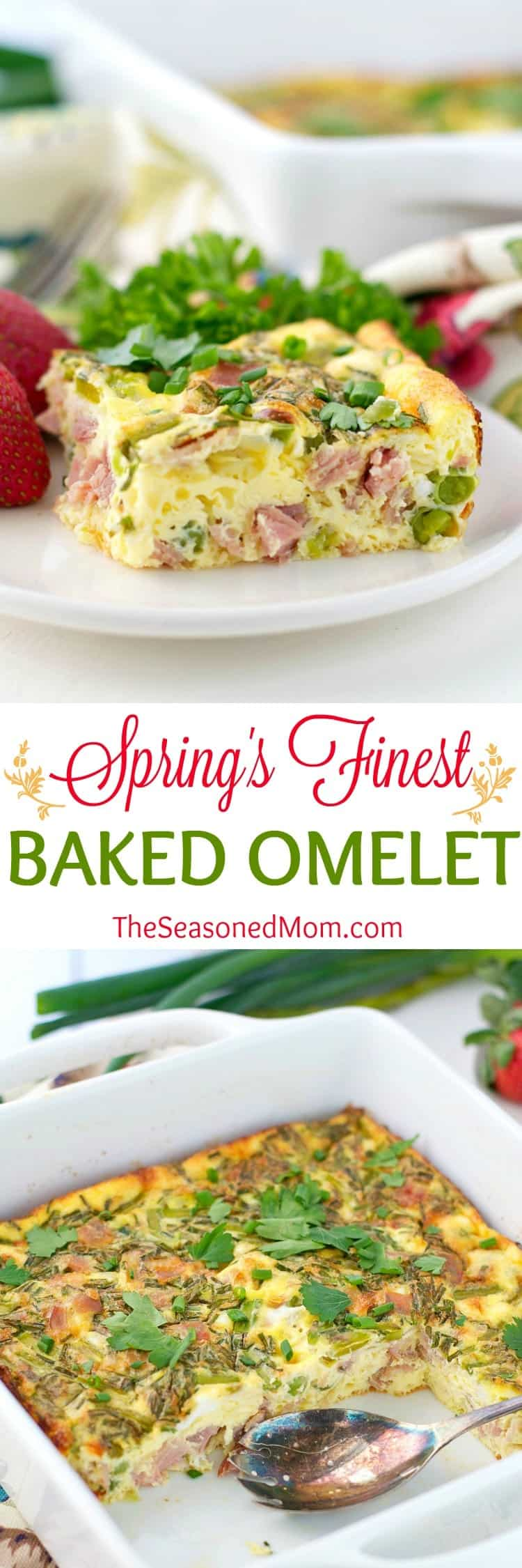 Spring's Finest Baked Omelet is the easiest way to serve eggs to a crowd! Bursting with fresh asparagus, chives, peas, ham, and cheese, this easy brunch casserole celebrates all of the season's most delicious ingredients!