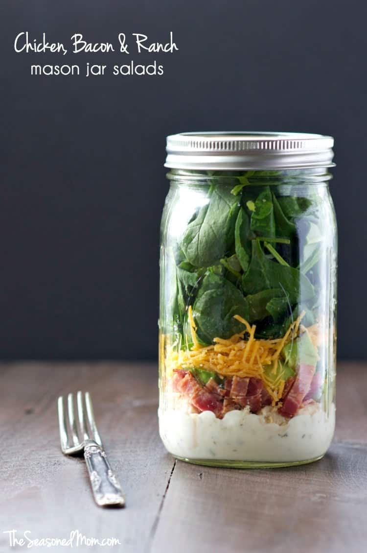 Chicken Bacon Ranch Mason Jar Salads TEXT