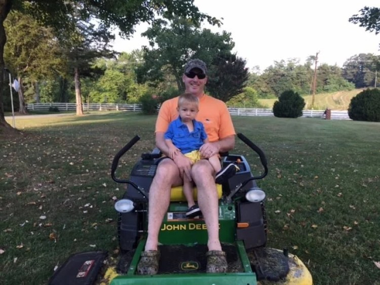 Keith and Spencer on Tractor