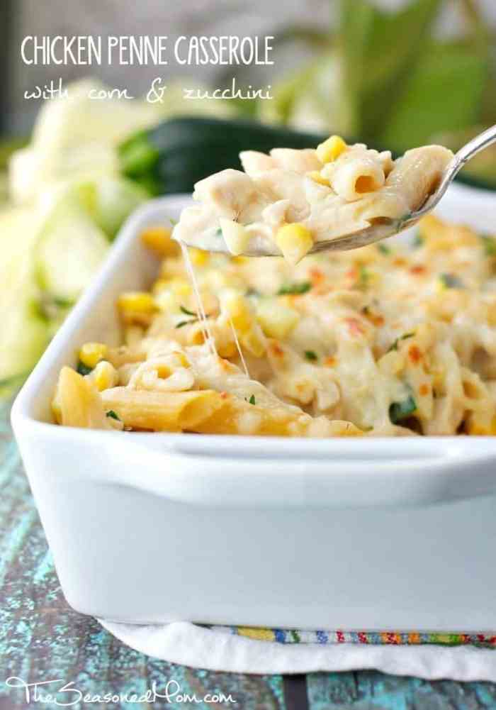 Chicken Penne Casserole with Corn and Zucchini TEXT