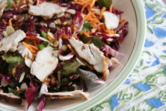 Warm Ginger-Sesame Chicken Over Carrot-Radicchio Salad
