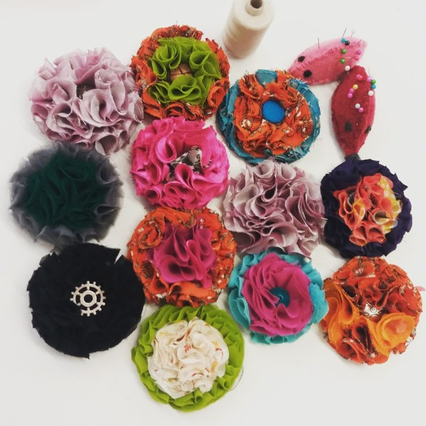 Corsages made from saris - Little Bird SOS