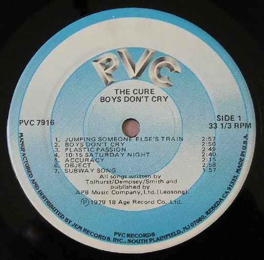 """The label to The Cure's """"Boys Don't Cry,"""" released on PVC Records."""