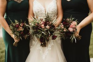 Burgundy and blush bouquets