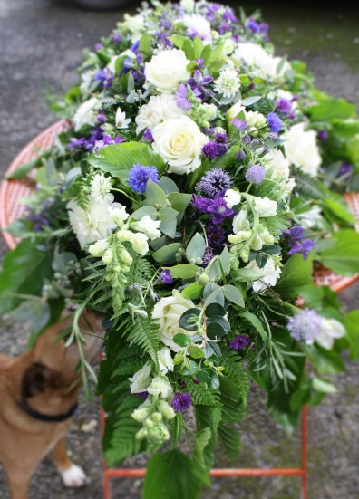 Blue & White Casket Spray - funeral flowers in north Cork