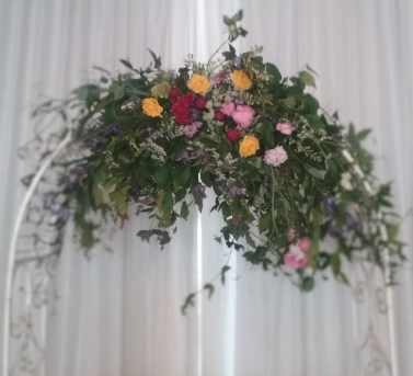 Wild floral arch wedding Springfort Hall