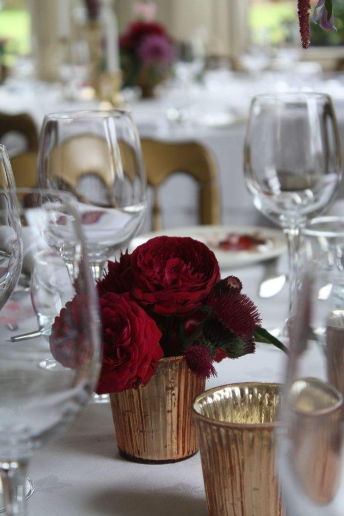 Red Roses Gold Bud Vase