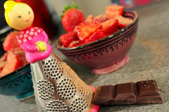 Strawberries, cheese & chocolate dessert