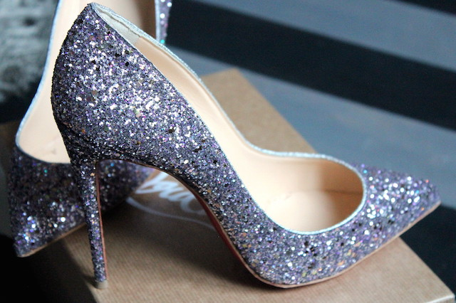 Louboutin pinkish sparkling shoes