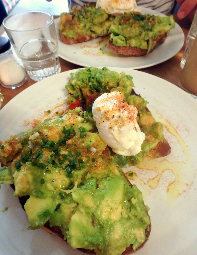Avocado toast at Fragments coffee shop in Paris