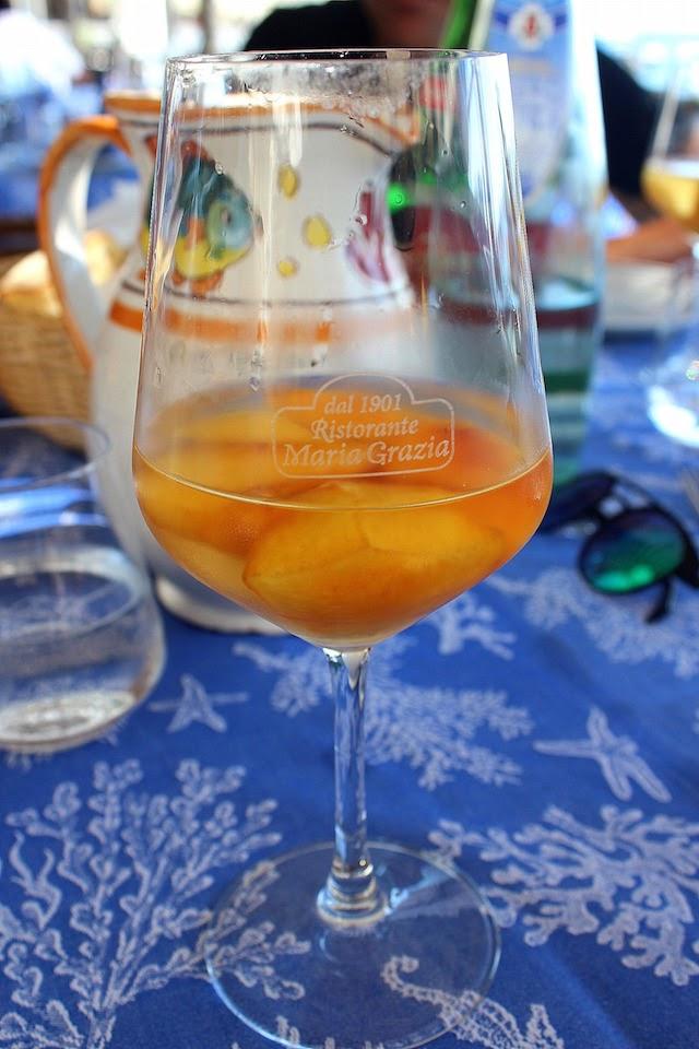 Wine with peaches at Maria Grazia restaurant in Nerano