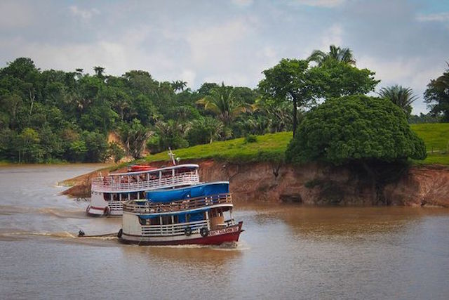 Boats on the Amazonia river