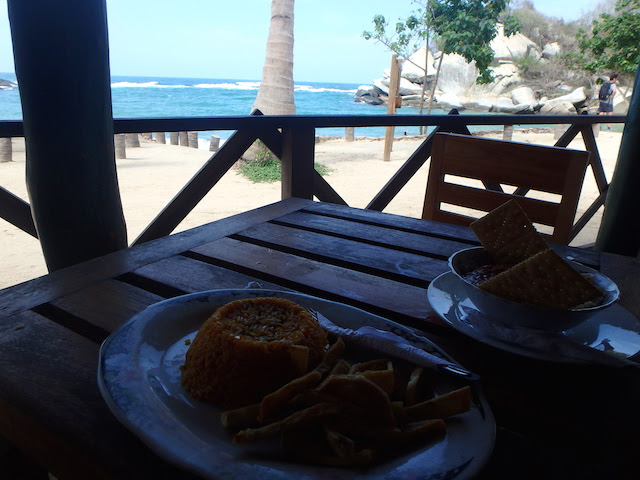Lunch at el Cabo beach in Tayrona National Park, Colombia