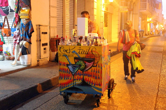 Alcohol stall in Cartagena Colombia