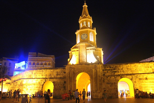 The Tower Clock in Cartagena, Colombia, at night