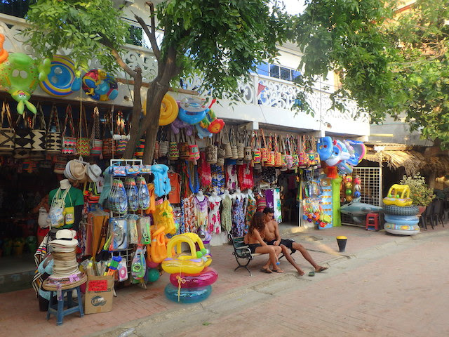Shops on the waterfront walk in Taganga, Colombia