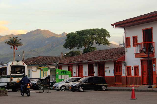 Salento main square at sunset, Colombia