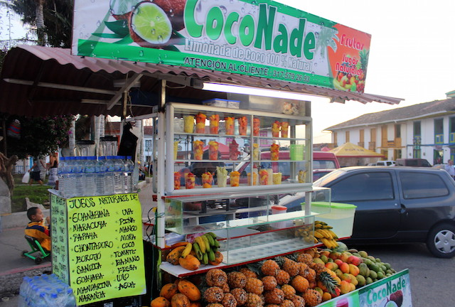 Fruit juice stall in Salento main square, Colombia