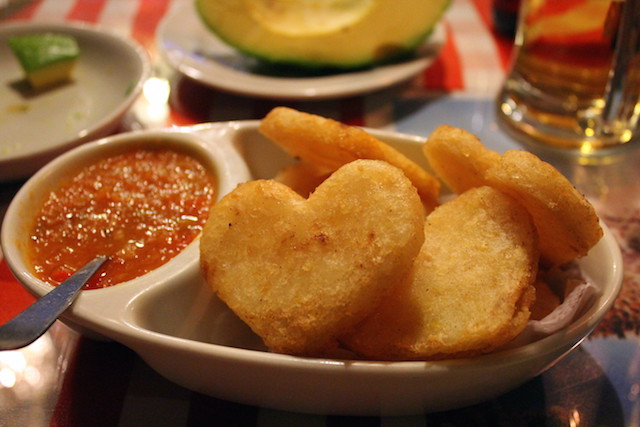 Heart-shaped arepas at Restaurante Donde Laurita in Salento, Colombia